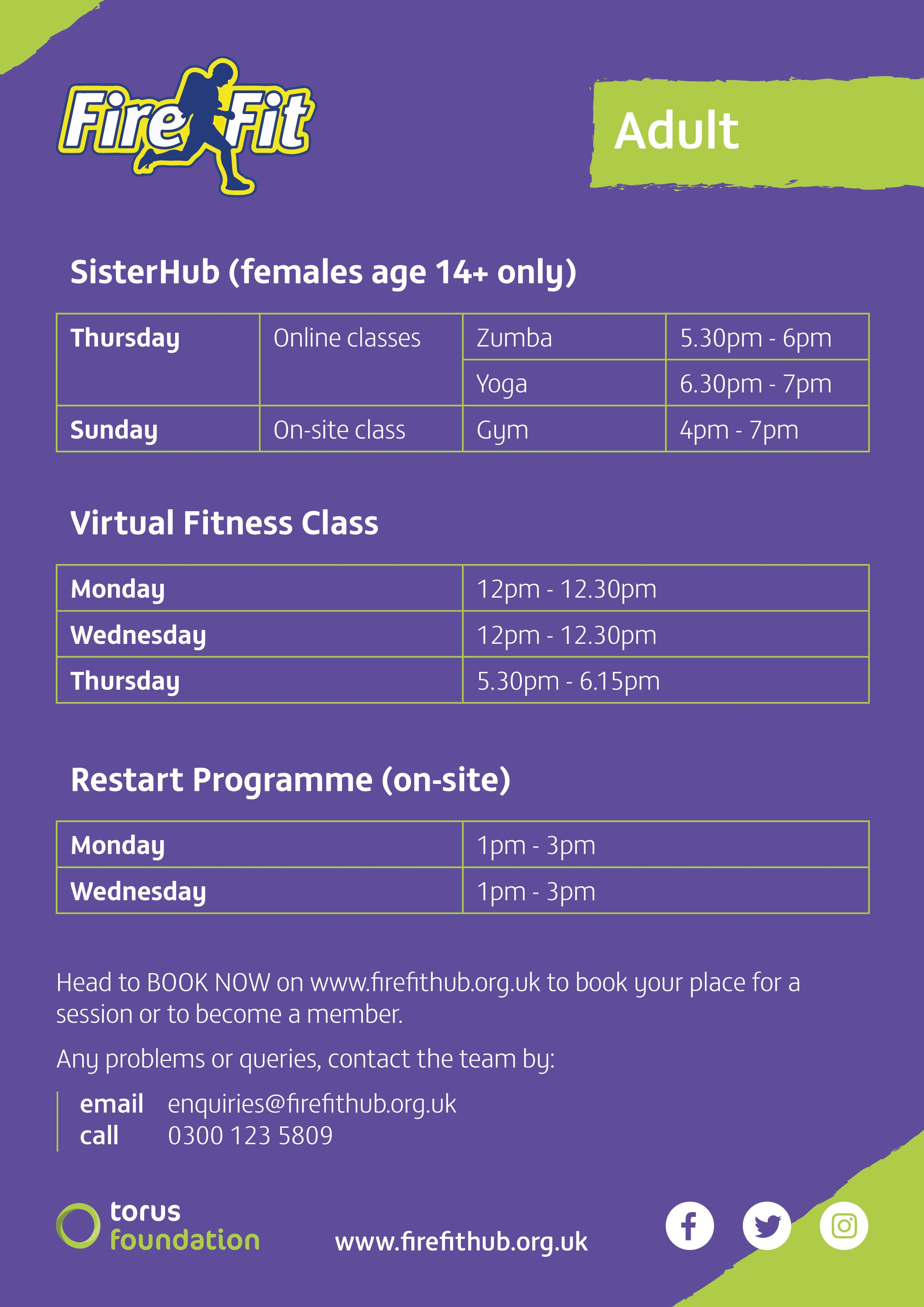 Adult Classes Timetable
